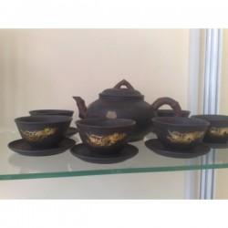 Традиционен Комплект за Чай - Златен Дракон (Китайска Глина)