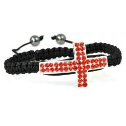 Фън Шуй Тибетска Гривна Шамбала с Инкрустирани Червени Кристали (Кръст)