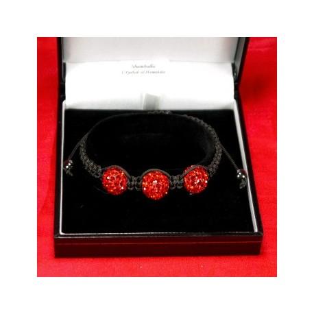 Фън Шуй Тибетска Гривна - Шамбала с Инкрустирани Червени Кристали (SHR7)